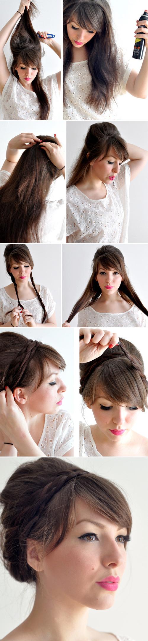 Peinados recogidos con trenzas facil y bonito para verano - Peinados recogidos con trenzas ...
